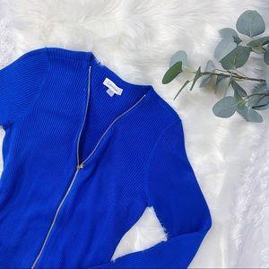 CK | Royal blue midi sweater zip up dress